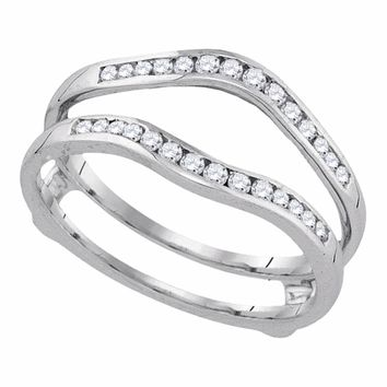 14kt Yellow Gold Womens Round Diamond Ring Guard Wrap Solitaire Enhancer 1/4 Cttw