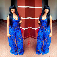 Blue Star Print Spaghetti Strap Crop Top and Loose Pants