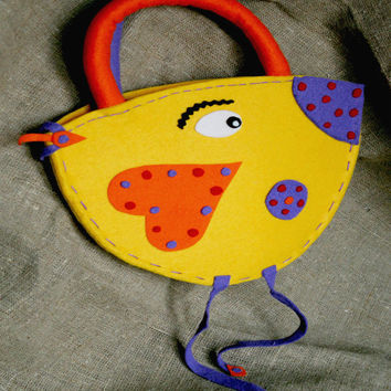 BIRD Sac maison girls Handbag Handmade for girls Design Felt girls bag Purse Hand sewn bag Super Cute AccessoryGift Handbag Small Felt Bag