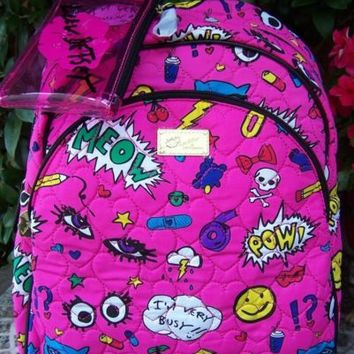 BETSEY JOHNSON Pink Quilted Cartoon Meow Backpack Book Bag NEW