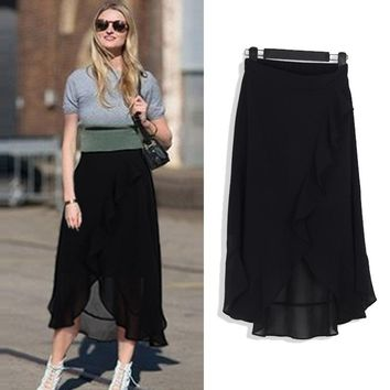 Summer New Fashion Slim Irregular Flounce Chiffon Fashion Plus Size Women Solid Color A-Line Elastic Waist Basic Skirt