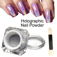 1g/Box 3D Shiny Glitter Silver Pigments Holographic Laser Powder for Nail Art Gel Polish Rainbow Chrome Shimmer Dust