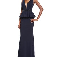 Sleeveless Peplum Gown, Size: