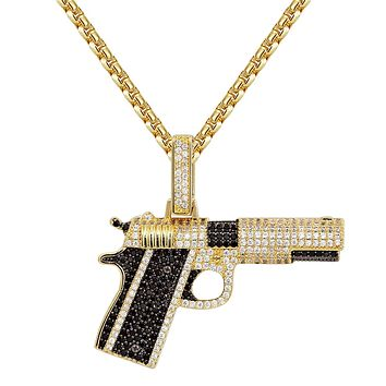 Black 14k Gold Finish Iced Out Piston Gun Rifle Pendant