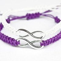 Infinity Friendship Bracelets Purple and White