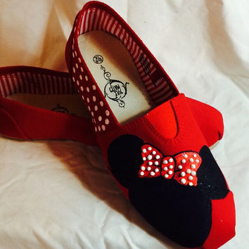 Cute Minnie Mouse Economy Custom Shoes Cartoon Character Shoes Polka Dot Hand Painted Shoes