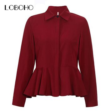 Women Tops And Blouses New Fashion 2017 Collar Long Sleeve Chiffon Blouse White Red Women Casual Shirts Peplum Tops With Ruffles