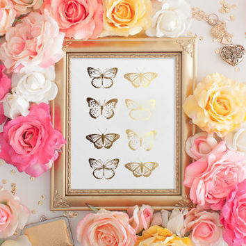 Butterfly Print, Wall Butterflies, Hanging Butterflies, Real Gold Foil, Butterfly Art, Wall Decor, Wall Art, Butterfly Gold Foil, 8x10""