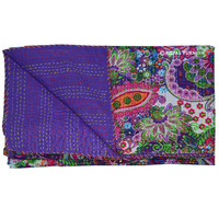 Queen Size Purple Multicolor Paisley Kantha Quilt Blanket Bedding on RoyalFurnish.com