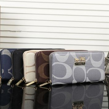 Coach Women Purse Fashion Classic Big Letter Print Long Section Zip Wallet Handbag