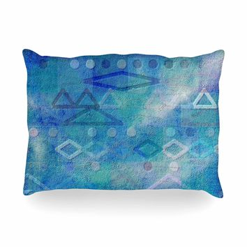 "Mimulux Patricia No ""Hieroglyphic"" Blue Digital Abstract Oblong Pillow"