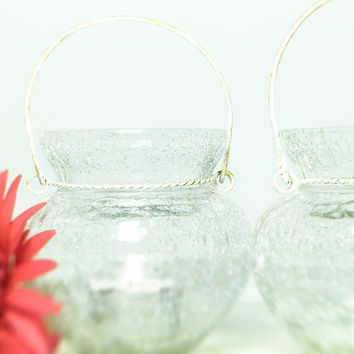 Exotic Frost Glass Votive Candle Holder/ Cottage Patio Wedding Decoration/ Morrocan Decor/ Hanging Globe Lighting/Set of 2