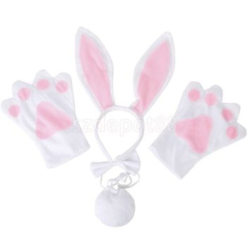 New Sexy Girl Costume Halloween Cosplay Uniform Fancy Bunny Lingerie Dancing Costumes Rabbit Handband+Gloves+Bow Tie+Tail