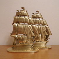 Vintage Brass Bookend Set Clipper Ships by needorwant