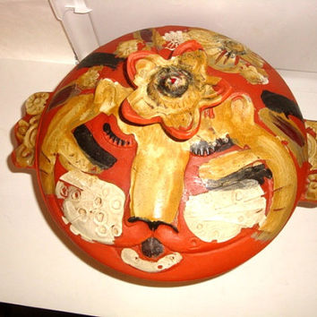 1973 PACIFIC STONEWARE B. Welsh California Art Pottery Casserole Cat Tiger Ceramic Terracotta