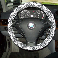 Grey And Black Damask Steering Wheel Cover