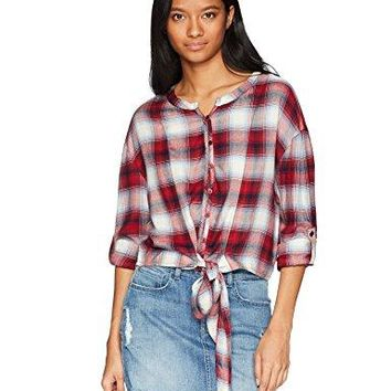 Hayden Rose Young Womens Teen Loose Fitted Button Down Tie Front Shirt