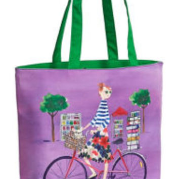 """Sujean Rim """"Beth's Book Filled Day"""" Radiant Orchid Tote with Green Handles 16.5"""" x 13.5"""" x 5.5"""""""
