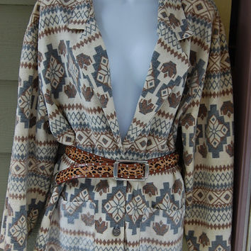 Vintage 80s 90s Just Dawn Tribal Aztec Southwest Print Flannel Boxy Oversize Boyfriend Blazer Jacket Size Large