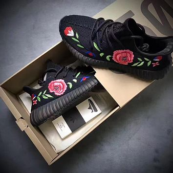 Tagre™ Adidas Yeezy Boost 350 Floral Embroidered Black Sneaker