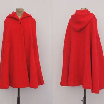 womens bathroom sign cape. Fairy Tale Red Cape Coat - Vintage 1960s Boucle Wool Hooded 60s Plain Womens Bathroom Sign A