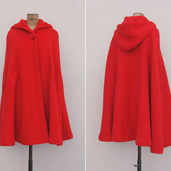 Fairy Tale Red Cape Coat - Vintage 1960s Boucle Wool Hooded Cape - 60s Plain Red Riding Hood Cape