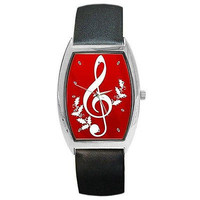 Musical Note w/ Holly on Silver Barrel Watch w/ Leather Band..NEW