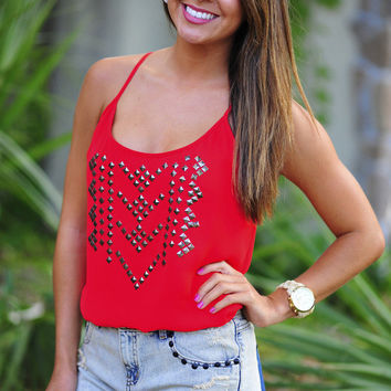 Don't You Worry Tank Top: Red | Hope's