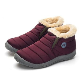 Waterproof Women Winter Shoes Couple Unisex Snow Boots Warm Fur Inside Antiskid Bottom