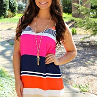 Racer back tank dress with colorful stripes throughout.