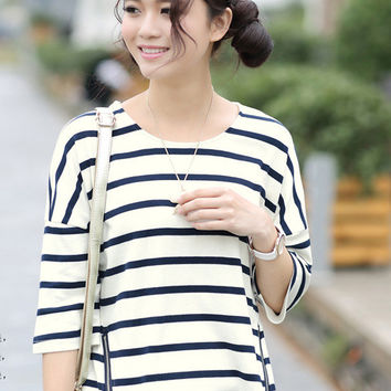 Blue Side Zip Long Back Striped T-Shirt