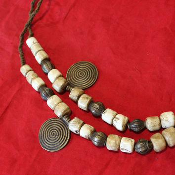 Naga land tribal conch shell beads necklace