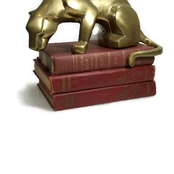 Stunning Large Mid Century Brass Figurine Unique Cat Large Brass Puma Shelf Sculpture