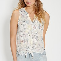 the perfect sleeveless blouse in faded ethnic print | maurices