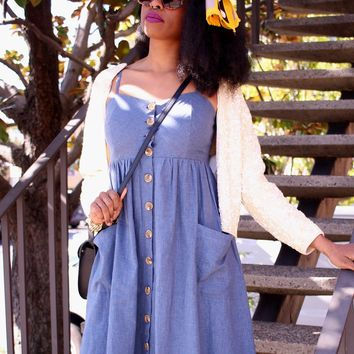 Chambray Linen French Chore Dress