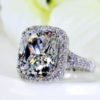 Size 5-11 Full 192pcs Tiny Zirconia 8ct Big topaz Simulated Diamond 14kt white gold filled Wedding Pave Women Band Rings LOVE