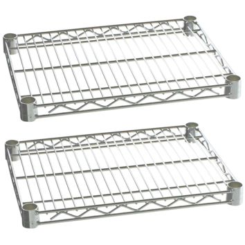 "Commercial Kitchen Heavy Duty Chrome Wire Shelves 24"" x 60"" with Clips (Box of 2)"