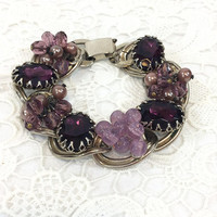 Chunky Amethyst Purple Fashion Bracelet, Bead Clusters & Crystals, Thick Goldtone Chain , Vintage Kafin Style Statement Jewelry