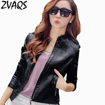 2017 Women's Spring Autumn Chaquetas Mujer New Clothing Brand Motorcycle Jacket Fashion Slim Faux Leather Jackets For Women YM16