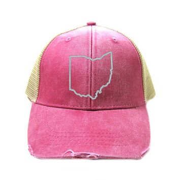 Ohio State Outline Trucker Hat- Distressed Snapback