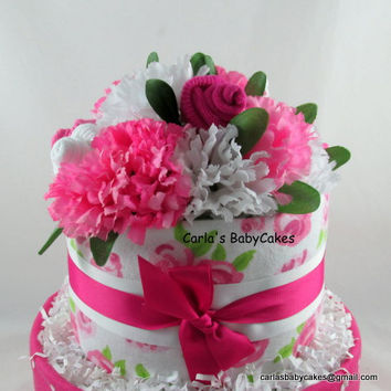 Girl Diaper Cake | Baby Diaper Cake | Pink Diaper Cake | Baby Shower Decoration | New Mom Gift | Baby Shower Gift | Baby sock bouquet