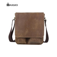 Baigio Man's Brown Crazy horse Leather Casual Flap-over Cross body Messenger Designer Shoulder Bag Vintage Brown Tote Handbags