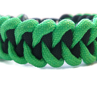 Green and Black Paracord Survival Bracelet