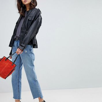 Vero Moda 80s faux leather waist detail jacket | ASOS