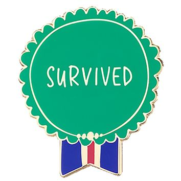 Survived Medal Enamel Pin in Green