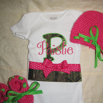 Custom Handmade Mossy oak camo hot pink and lime green camouflage Onesuit / bodysuit  you choose name with crocheted hat and matching booties