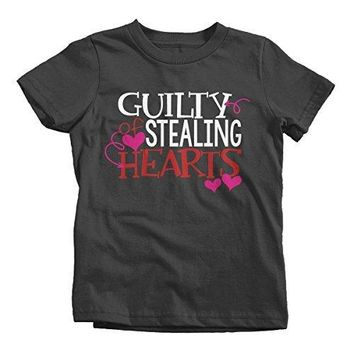 Shirts By Sarah Youth Guilty Stealing hearts Kids Funny Valentine's Day T-Shirt Boy's Girl's