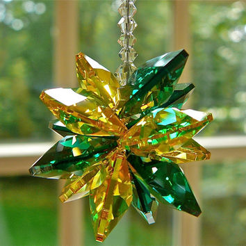 "College Colors Collection - William & Mary, Baylor, Colorado State - 5"" Swarovski Crystal Suncatcher for Dorm or Car"