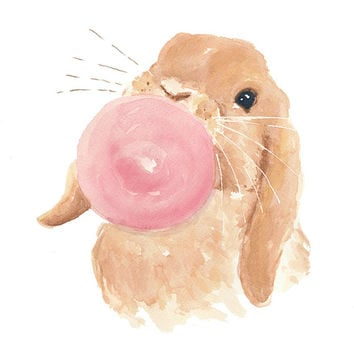 Rabbit Watercolor - ORIGINAL Painting, 8x10, Bunny Rabbit, Bubble Gum