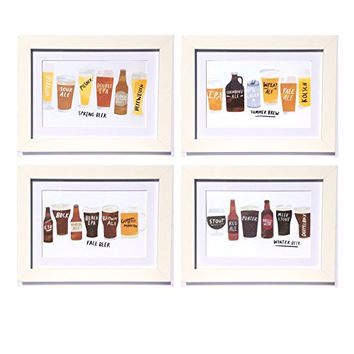 Seasonal Craft Brew Framed Art Prints - Set of 4 - 5-in x 7-in